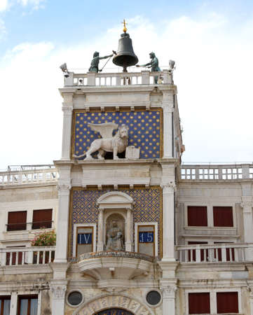 clock of the moors: St Marks Clocktower with lion and two moors in venice in italy