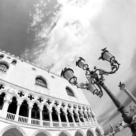 doges  palace: doges palace in Venetian-style architecture in Venice with street lights