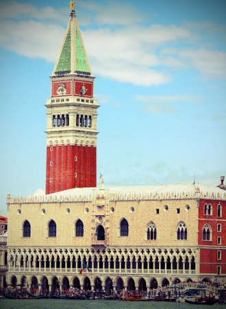 st  mark: Campanile of St. Mark and the Doges Palace in Venice in Italy Stock Photo