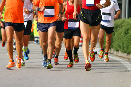 road runner: muscular legs of athletes engaged in long international marathon