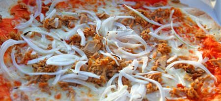 pizza maker: Tasty pizza with mozzarella tomato and onion with tuna Stock Photo