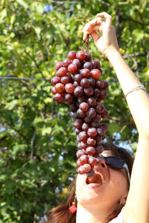 pretty woman eat a big bunch of grapes in autumn photo