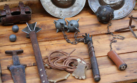 medieval weapons: Mallet and other medieval weapons during the reenactment of middle ages