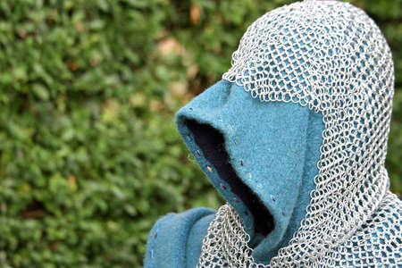 hooded vest: Iron vest and armor of the medieval knight armor with protective hood