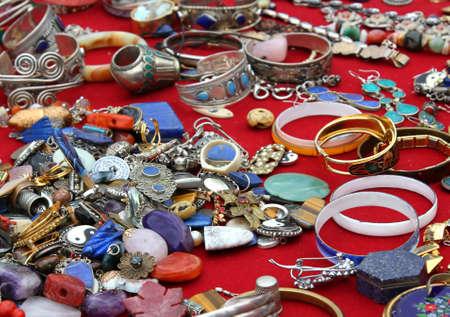 Necklaces Bracelets and precious jewels vintage at the flea market photo