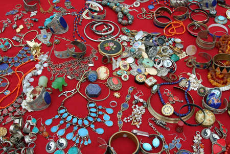 Bracelets and precious jewels vintage at the flea market photo