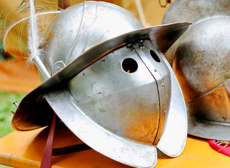 ancient medieval knights helmet during the period of the middle ages photo