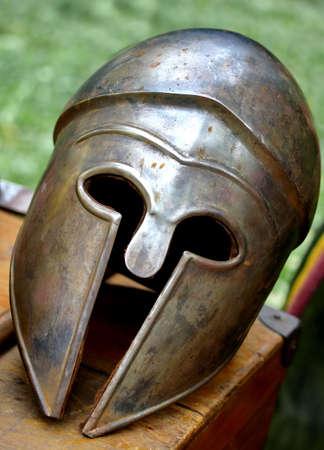 ancient Roman helmets of brave roman soldier photo