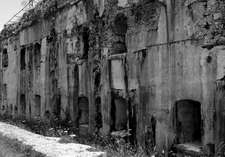 a war historian: ancient Fort Sommo used from the army during First World War in Italy Stock Photo
