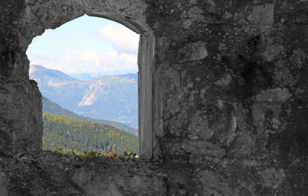a window on the world: Mountain Panorama from the window of the Sommo Fort used by the austro Hungarian army during World War I