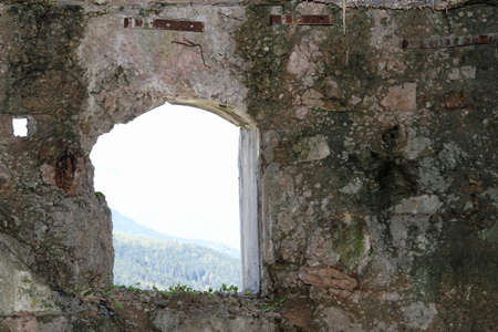 a war historian: huge window of the Sommo Fort used by the austro Hungarian army during World War I in Italy Stock Photo