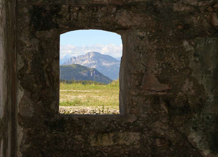 a war historian: Mountain Panorama from the window of the Sommo Fort Stock Photo