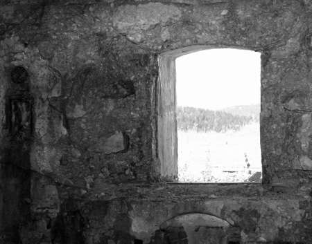 a window on the world: window of Fort Sommo of the First World War in Italy Stock Photo