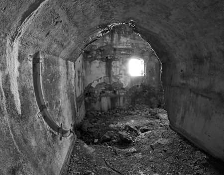 a war historian: Interior completely destroyed of the abandoned Sommo Fort of World War I in Italy