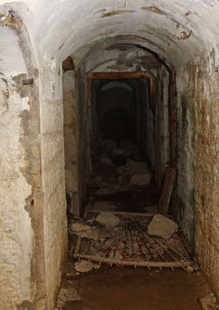 a war historian: Tunnel connecting of the abandoned Sommo Fort of First World War in Italy Stock Photo