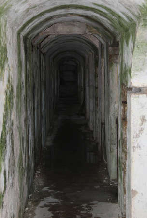a war historian: long tunnel inside the fortification called Fort Sommo used by the army during the first world war Stock Photo