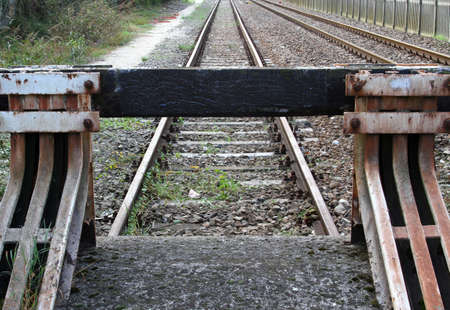 blocking: blocking of a siding at the end of the railway Stock Photo