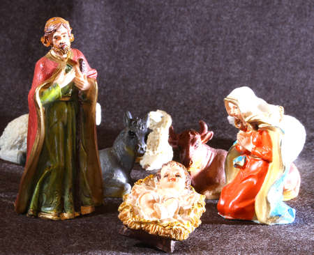 presepe: Holy Family in the tradition of Christmas with doneky and ox
