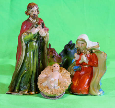 presepe: Mary and Joseph with the child Jesus at Christmas Stock Photo