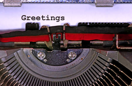 greetings written with the old typewriter photo