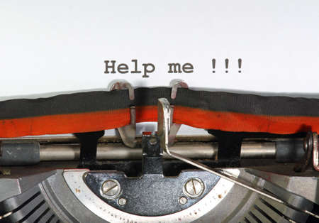 help me: help me written with ink with the typewriter