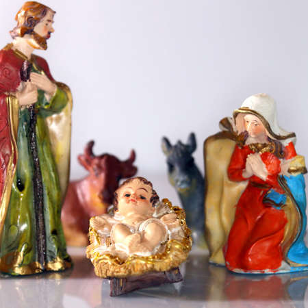 Holy Family in the tradition of Christmas with doneky and ox photo