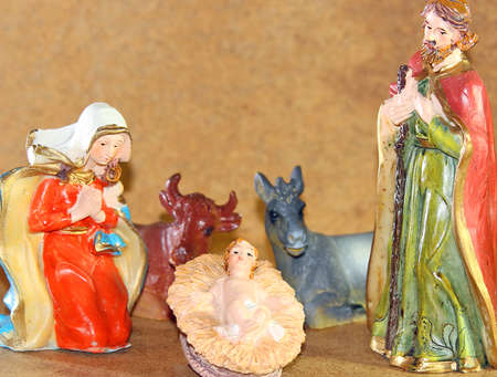 presepe: Baby Jesus in the Manger of the crib at Christmas Stock Photo