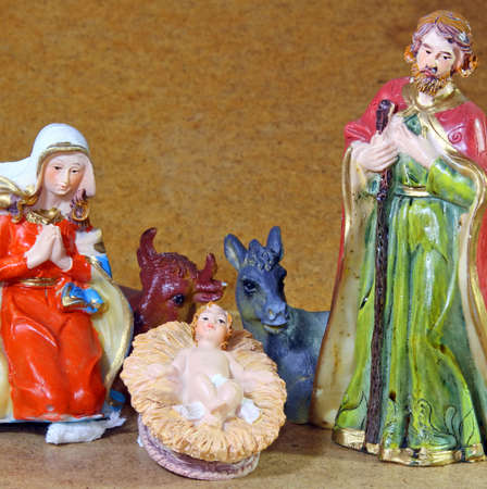 Baby Jesus in the Manger of the crib photo