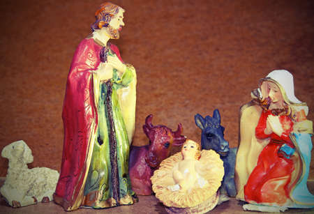 presepio: Baby Jesus in the Manger of the crib at Christmas Stock Photo