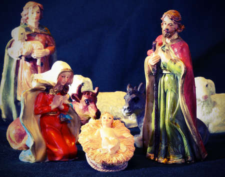 presepio: Mary and Joseph with the child Jesus in the manger with a shepherd