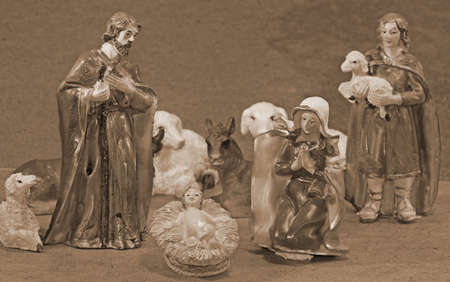 presepio: Mary and Joseph with the child Jesus in the manger with  some animals Stock Photo