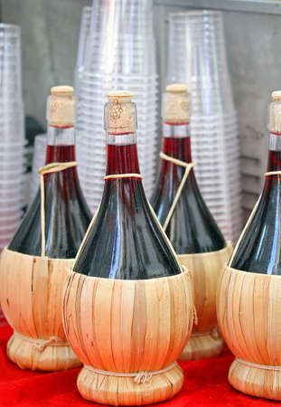 lambrusco: flasks of red Italian wine for sale