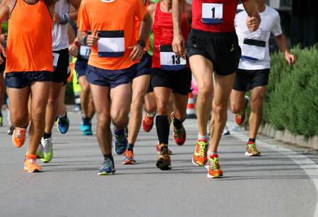 Marathon with many athletes from around the world photo