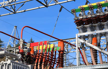 powerhouse: particular of the electrical connections of the large hydro-electric energy production