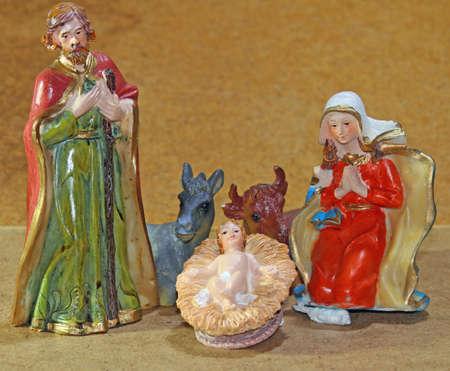 presepe: Nativity scene with baby jesus Mother Mary and joseph