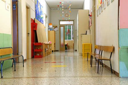 long corridor of a nursery school during the holidays without children Stock Photo - 34233502