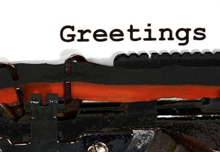 Typewriter Types Greetings Closeup black ink Stock Photo - 34221812