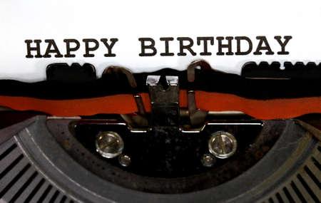 Typewriter Types HAPPY BIRTHDAY Closeup Stock Photo - 34221813
