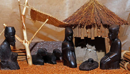 presepio: Nativity scene with Holy Family in a manger African Style