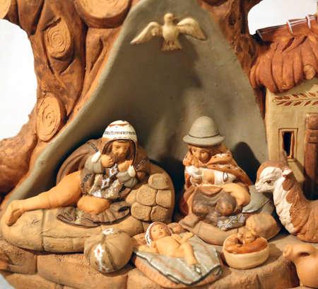 sacra famiglia: statue del presepe con la Sacra Famiglia in Sud stile americano Archivio Fotografico