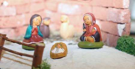 presepe: statues of the Nativity scene with Holy Family in South American style