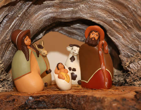 presepio: statues of the Nativity scene with Holy Family in South American style