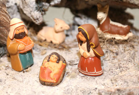 nativity set: statues of the Nativity scene with Holy Family in South American style