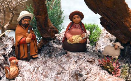 heilige familie: Statuen der Krippe mit der Heiligen Familie im s�damerikanischen Stil