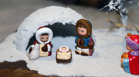 Nativity scene with Eskimo Family and an igloo