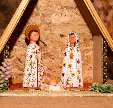 presepio: statues of the Nativity scene with Holy Family Mexican style