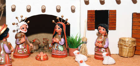 presepe: statues of the Nativity scene with Holy Family Mexican style