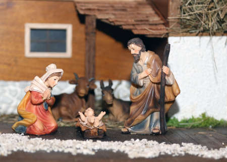 presepe: Nativity scene with Holy family of nazareth Stock Photo