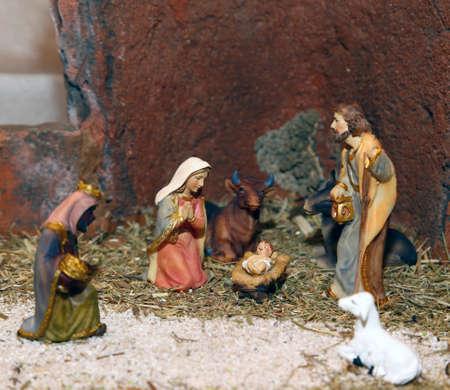 presepe: Nativity scene with Holy family of nazareth Stock Photo