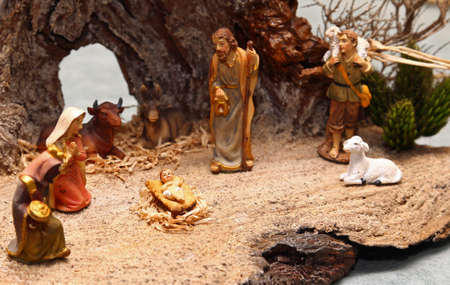 presepio: statues of the Nativity scene with Holy family traditional Neapolitan style